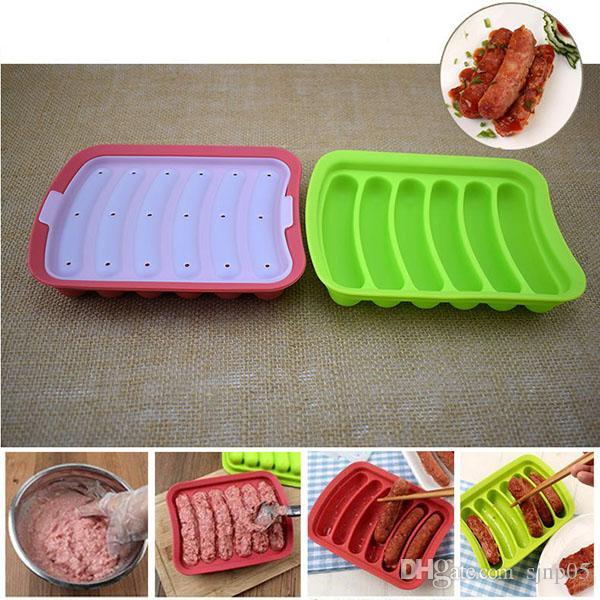 Silikon Sosis Kalıp DIY Sıcak Köpek Kalıpları 6-link Sosis Raf Kutusu Gıda Sınıfı Silikon Hot Dog Maker Mutfak Et Pişirme Araçları
