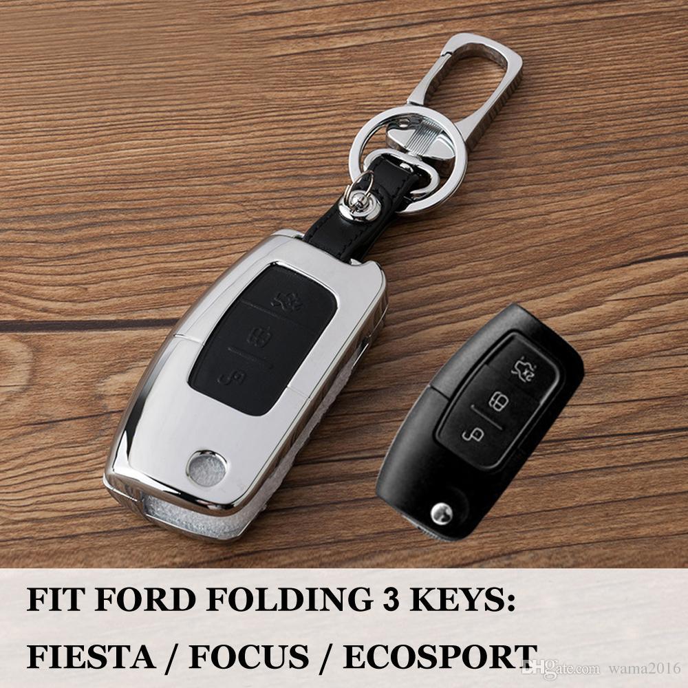Zinc alloy + Leather 3 buttons New arrived car remote key cover case holder for Ford Fiesta Focus 2 Ecosport 2 sedan hatchback
