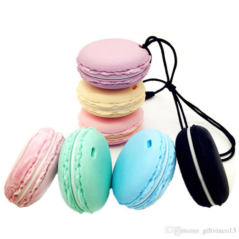 10PCS Silicone Teething Macaroon Pendant Toys Food Grade Chewable Silicone Teether Pendant Silicone Teething Bead Nursing Necklace