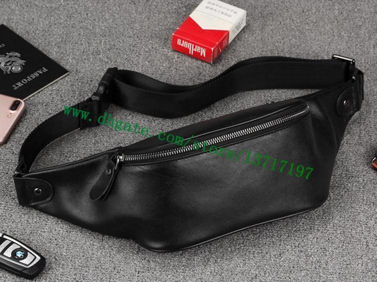 Высший сорт Черный затмение холст покрытием из натуральной кожи BUMBAG M42906 талии сумка грудь сумка многофункциональный