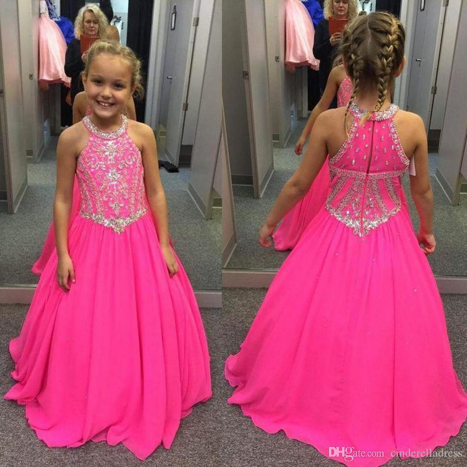 2019 Fuchsia Little Girls Pageant Dresses Beaded Crystals A Line Halter Neck Kids Toddler Flower Prom Party Gowns for Weddings BA7601