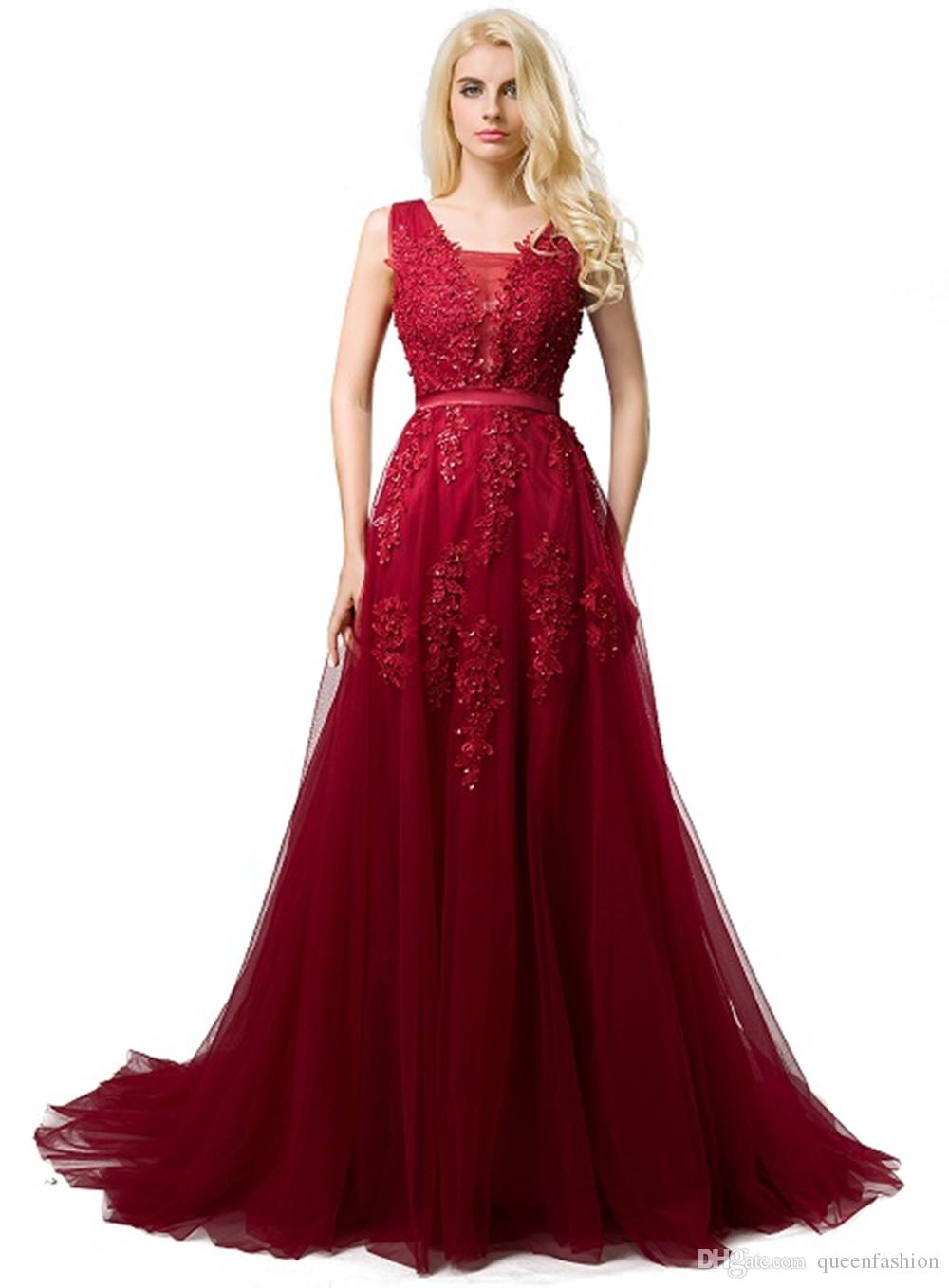 2020 Cheap Long Tulle Evening Prom Dresses Deep V Neck Sleeveless Lace Appliques Low Back Corset Back Formal Party Dress for Women Burgundy