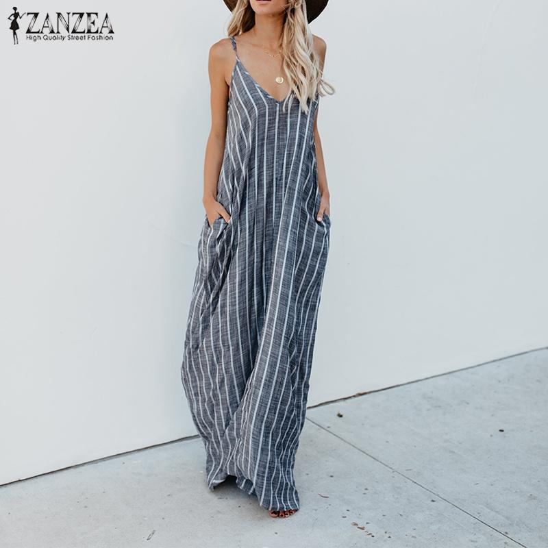 2018 ZANZEA Yaz Çizgili Elbise Kadınlar Seksi V Boyun Strappy Gevşek Pamuk Keten Maxi Uzun Elbise Casual Baggy Parti Plaj Vestido