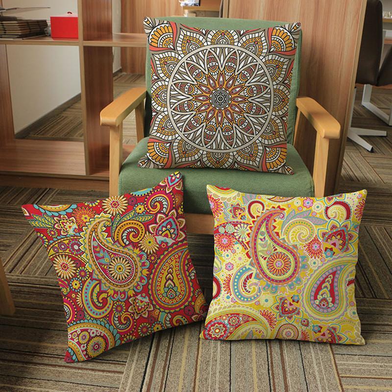Bohemia Estilo Cojín de la cubierta de Lino Tejido Paisley Diseño de Patrón Throw Pillow Cases Home Sofa Car Decorativo Funda de Almohada 45 * 45 cm