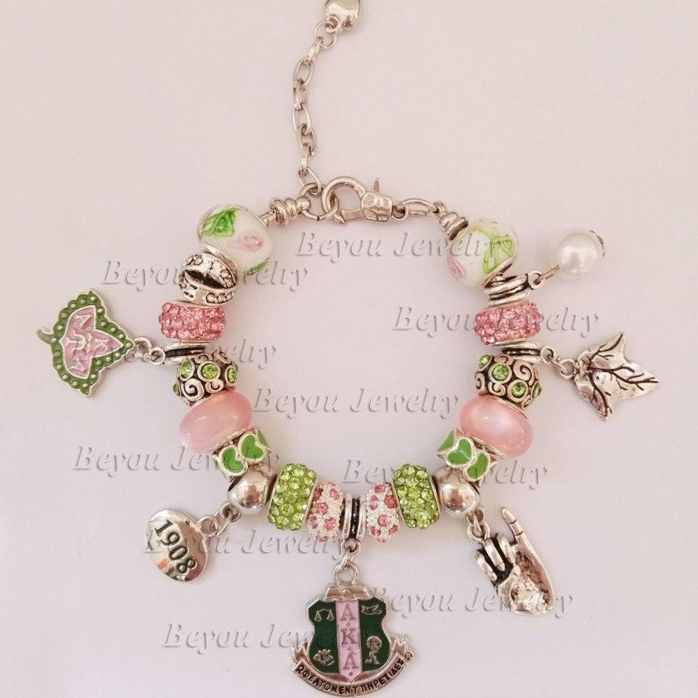 AKA Sorority Ivy 1908 Pinky Up Bead Charm Bracelet Greek Custom Bracelet Bangle 1 pieza