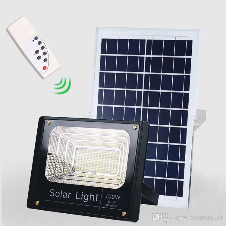 مصباح LED للطاقة الشمسية الأضواء 40W / 60W / 100W / 200W فائقة مشرق الكاشف للماء IP67 ضوء الشارع مع جهاز التحكم عن بعد