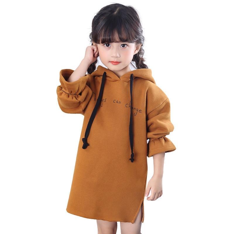 أيل أرنب الخريف والشتاء الجديدة طفلة الأزياء الصلبة من النوع الثقيل طويل اللباس الفتيات ملابس السببية
