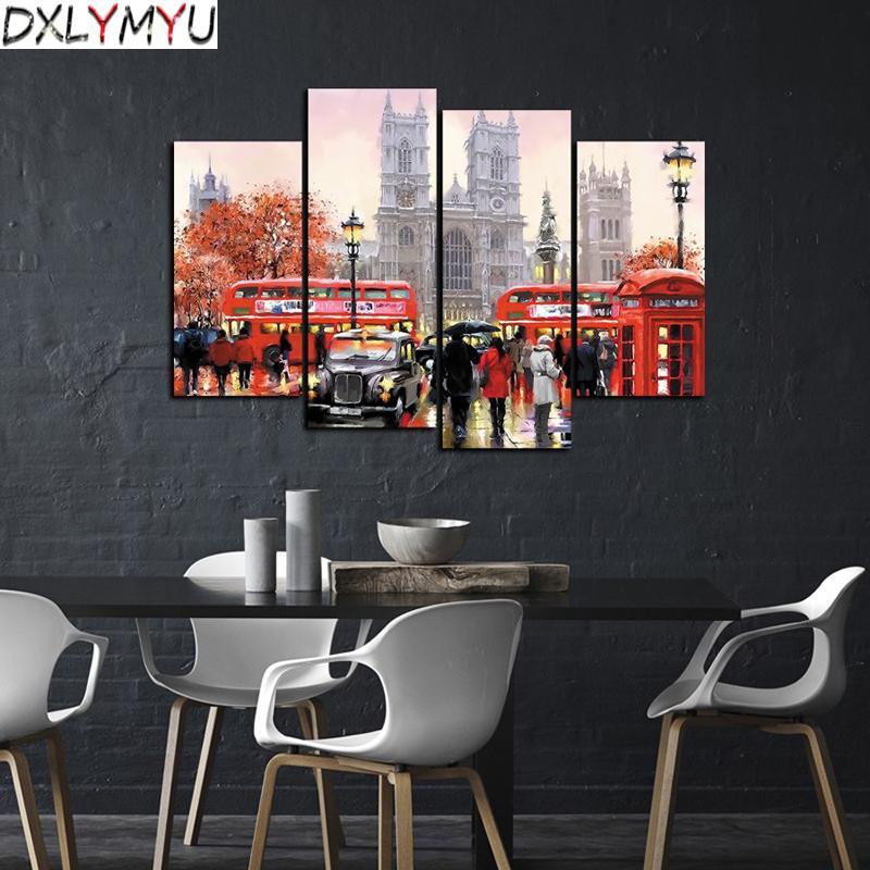 5D DIY Алмаз вышивка уличные пейзажи Алмаз живопись вышивки крестом Красный автобус картина полный квадрат горный хрусталь украшения