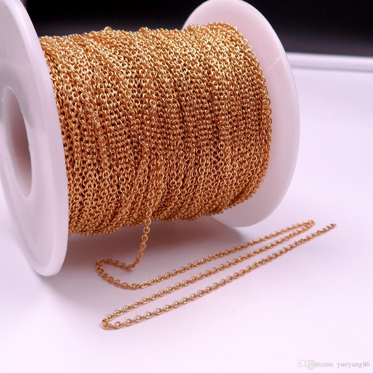 GNAYY 10 metri lotto in massa placcato oro liscio ovale o rolo catena in acciaio inox fai da te jewlery catena di marcatura 1.5mm / 2mm