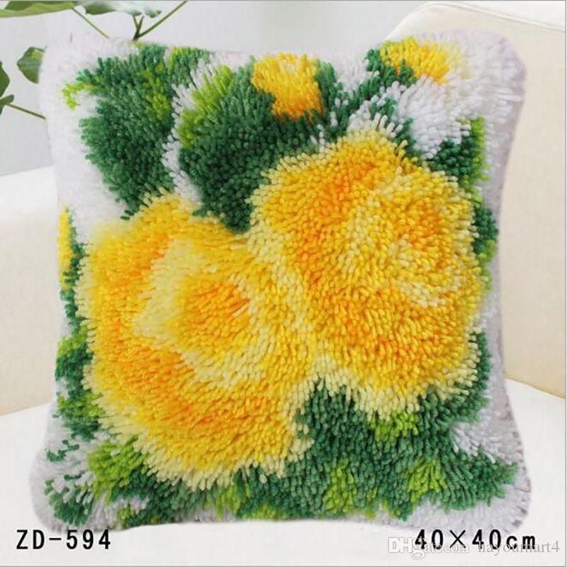Diy Pillowcase Wool Sofa Chair Seat Home Decorative Fashion Design Flower Style Printed Cushion Cover Uncompleted Decor