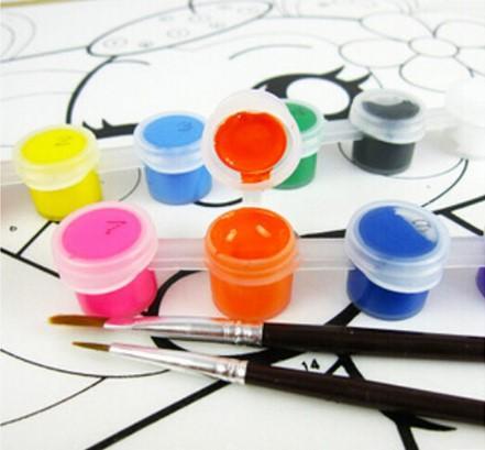 Con 2 pinceles de pintura azul por juego de pinturas acrílicas para pintura al óleo Nail art clothes art digital wall painting set 12 colores
