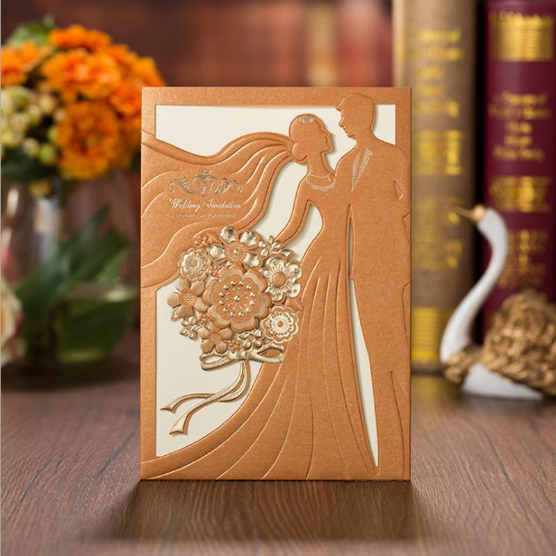 Lazer Kesim Kabartmalı Düğün Davetiyesi Benzersiz Düğün Davet Özelleştirilmiş Davetiye Kartları - 50 adet Set