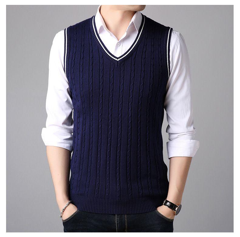 Männer V-Ausschnitt Pullover Weste Männer einfarbig Pullover Pullover Weste Männer ärmellose Herren Strickwesten männliche Kleidung koreanische Version Männer heiß