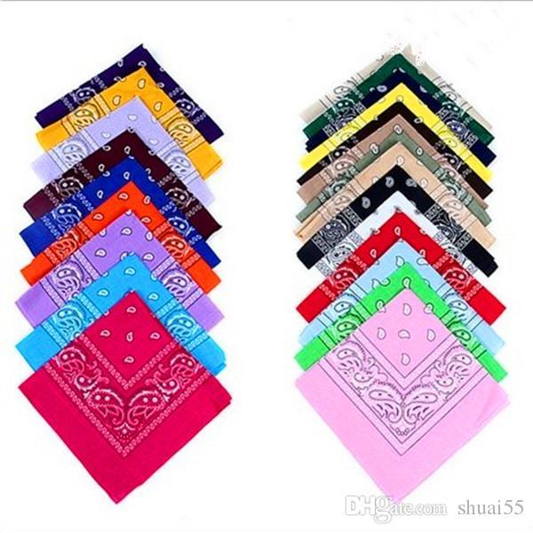 Wholesale-55x55cm wedding celebration Colorful kerchief Square Paisley Bandanas Cotton Head Wrap Scarf Wristband Multicolor New gift