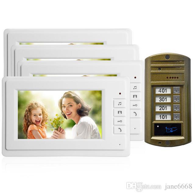 Горячая продажа Умный дом дверной звонок 7-дюймовый ЖК-монитор провод видео-телефон двери охранной сигнализации двери доступа домофон talk-back