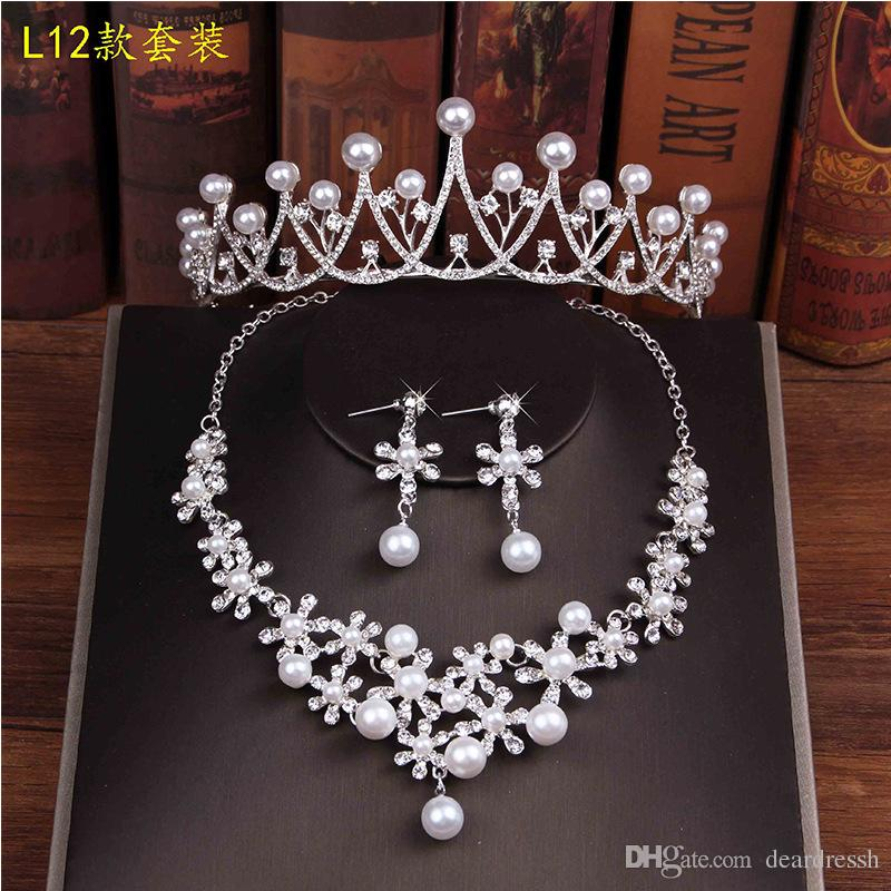 Amazing Bling Bling Pearls Adorne Bridal Crowns Wedding Crystal Adorned 3 Piece Party Jewelry Sets Accessories With Necklace Earrings