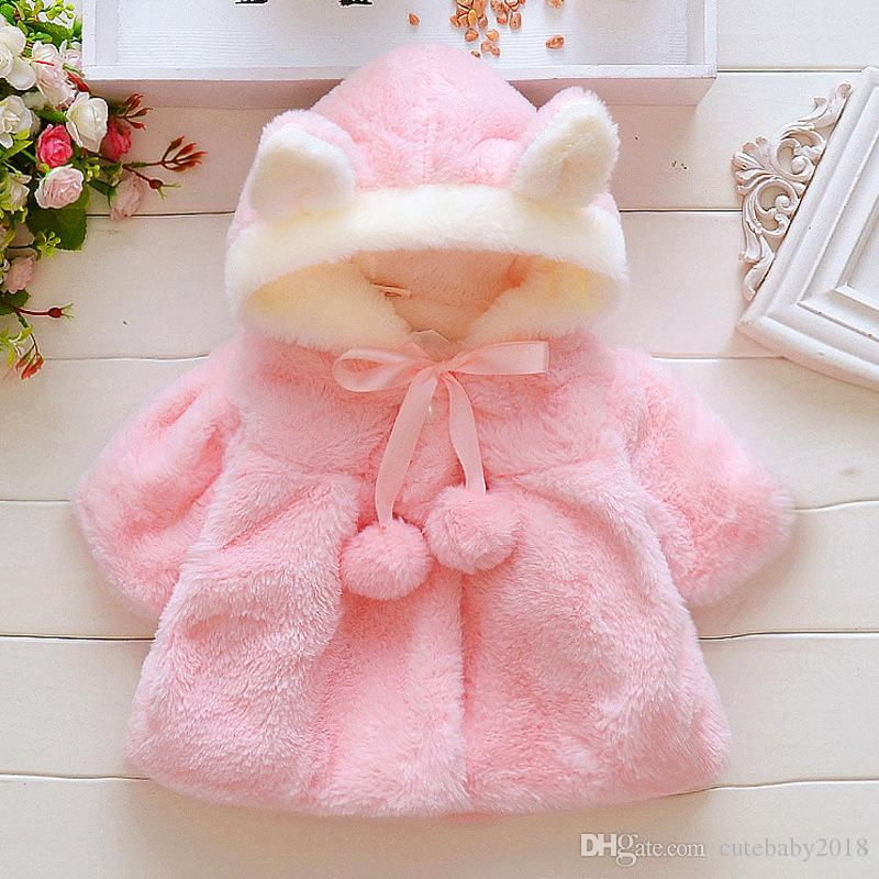 bebé ropa de moda chica linda caliente niñas abrigos Abrigo Fleece 2018 niños niñas ropa de invierno cálido ropa de abrigo rosa Capa de cumpleaños