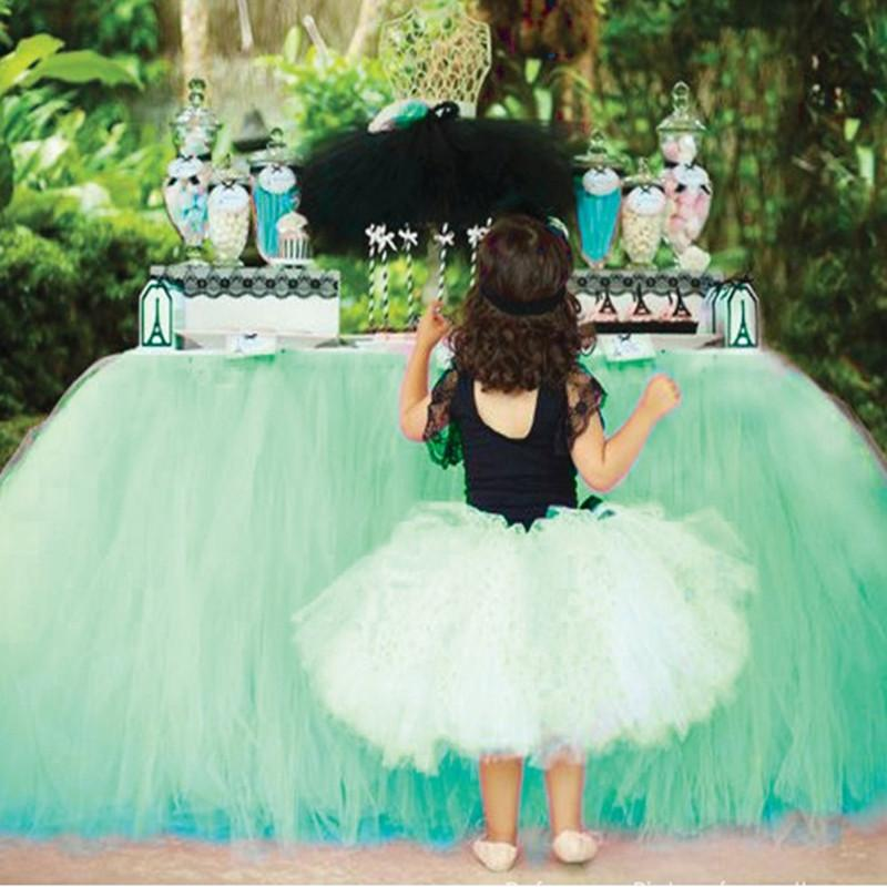 80*91.5cm Tulle TuTu Table Skirt Wedding Party Decoration Baby Shower DIY Table Skirting Multi Color Home Textile