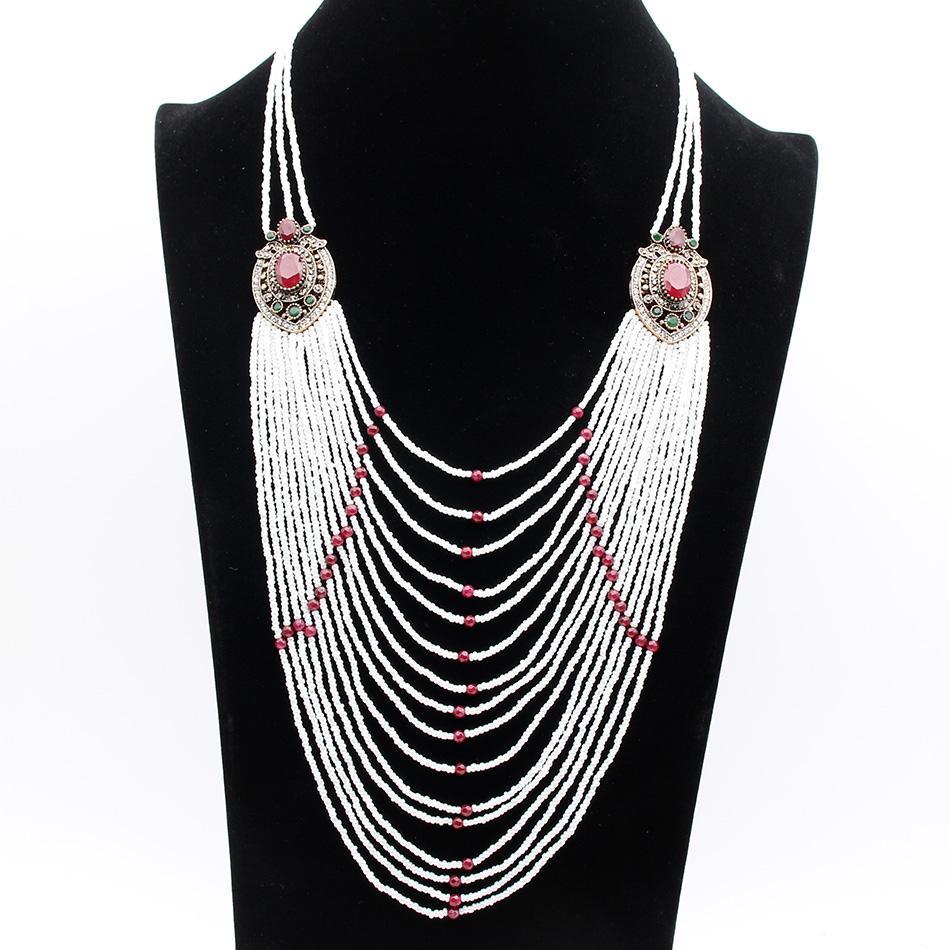À la mode Chandail Chaînes Collier Long Blanc Perlé Collier Femmes Turques Fleur De Résine De Perle collier Marque De Mariage De Mode Bijoux