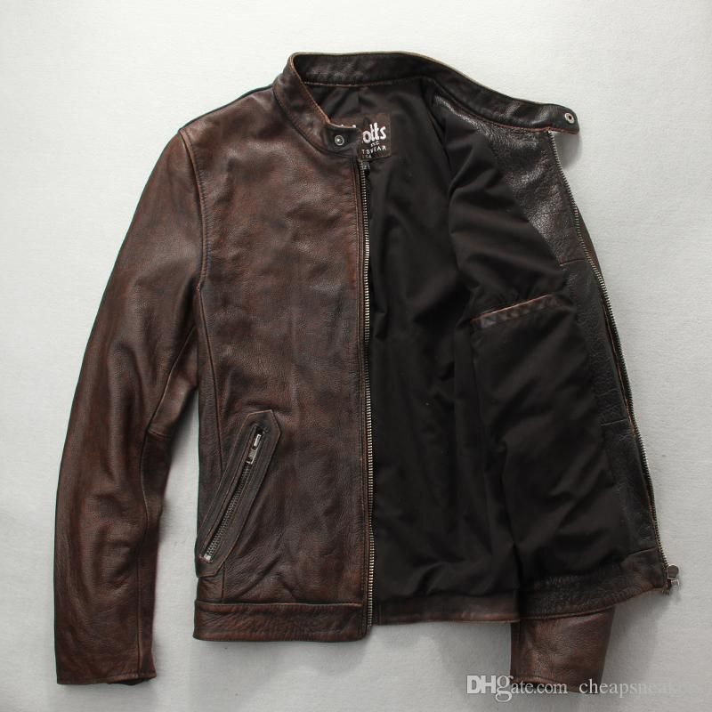 Chaqueta de cuero de la motocicleta de los hombres de la vendimia Capa principal clásica de cuero de grano Schotts Abrigos cortos delgados YKK cremallera de metal