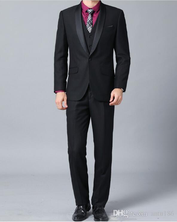 Özel siyah erkek takım elbise üç parçalı takım elbise (ceket + pantolon + yelek) erkek tek göğüslü şal yaka takım elbise erkek düğün damat elbise