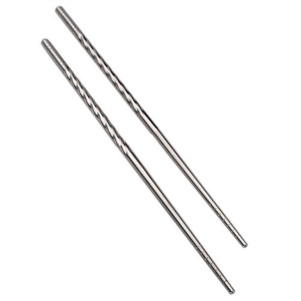 NHBR 1 par antideslizante Diseño Chop Sticks Acero inoxidable Palillo plata
