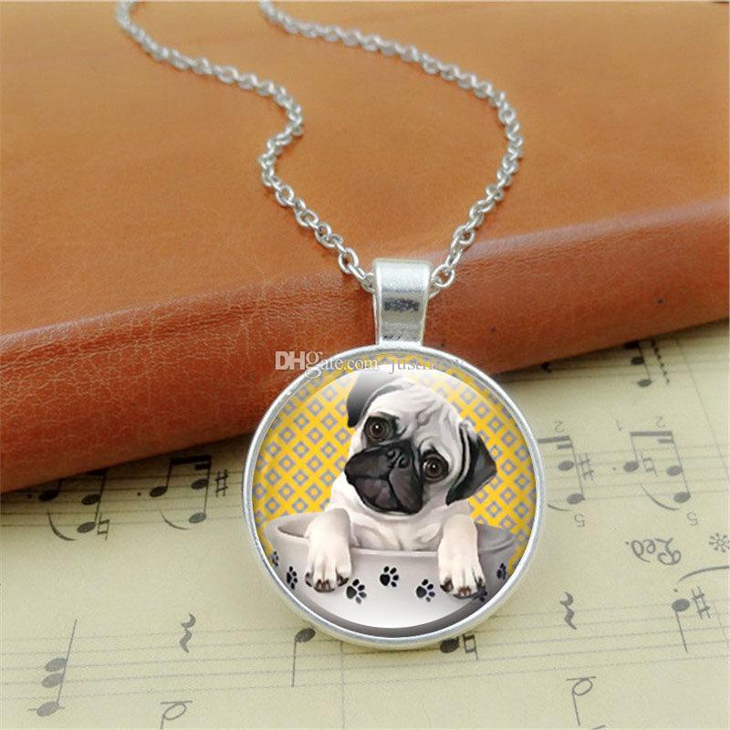 Photo Cabochon silver popular pendants chain Glass Necklace(black pug