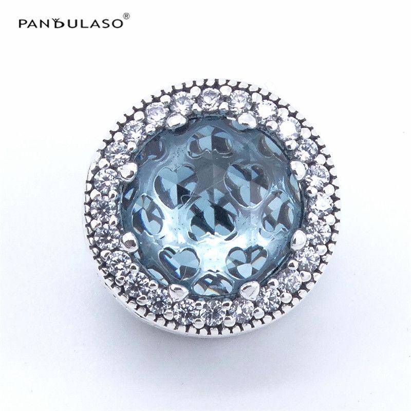 Toda la ventaPandulaso Glacier Blue Radiant Hearts Bead 925 Sterling Silver Jewelry beads DIY Making Fit Charm Bracelet Necklace