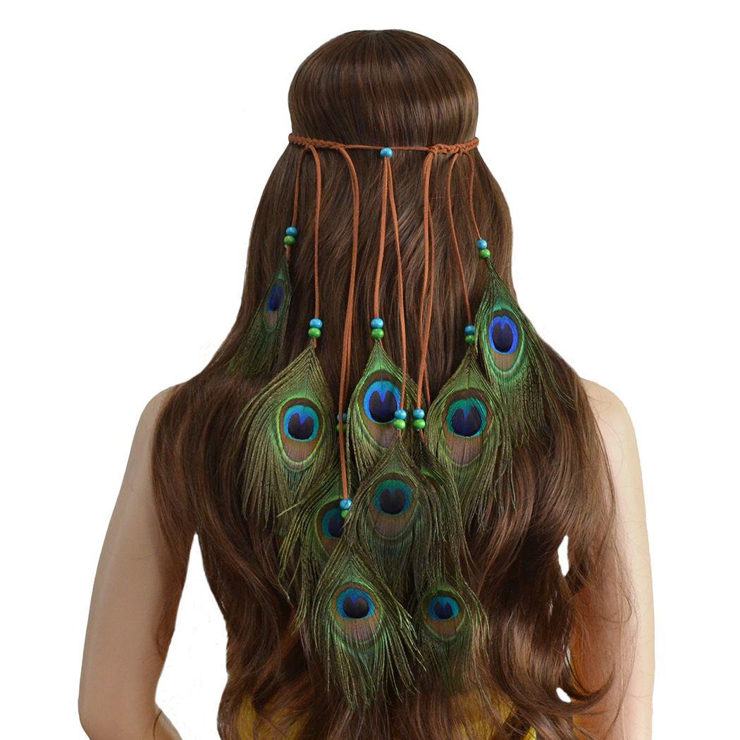 Piuma fascia donne copricapo stile bohemien piume di pavone perline fatti a mano fasce per capelli accessori per capelli Festival Boho Hippie regolabile