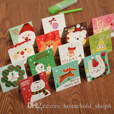 140pcs/lot Santa Claus Mini Greeting Cards Message Card Christmas Holiday Blessing Card Christmas Tree Hanging Ornaments