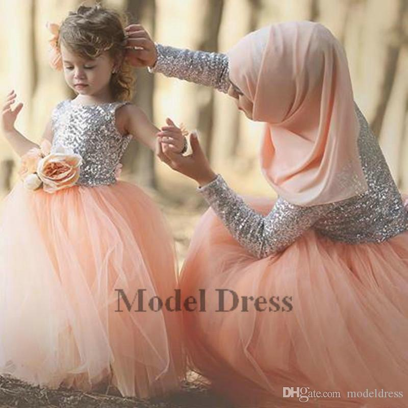 Silver Sequined Ball Gown Peach Tulle Flower Girls Dresses 2018 3D Handmade Flowers Cute Girls Pageant Dresses for Brithday Party 2018 Cheap