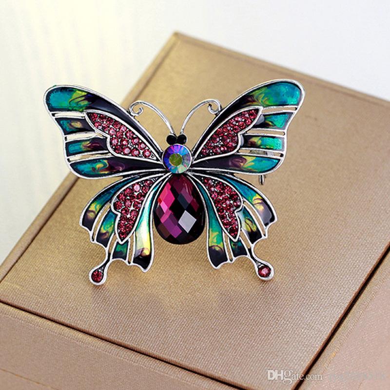 Spilla farfalla smalto colorato strass per le donne Lady abiti accessori lega di alta qualità animale spilla pin gioielli regali partito
