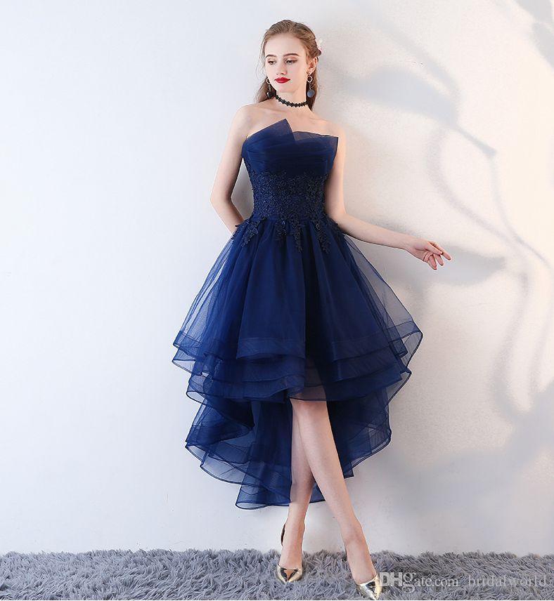 Compre Caminar Al Lado De Usted Azul Marino Vestidos De Noche Corto Frente Larga Espalda Vestidos De Fiesta Apliques De Encaje Sin Tirantes Vestidos