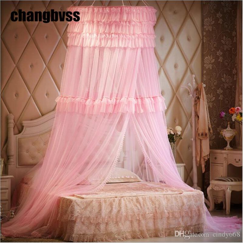 Princesse Style Dentelle Rideau Enfants Bébé Filles Moustiquaire Lit Canopy Tente Pliage Moustiquaires Pour Lit Double moustiquaire