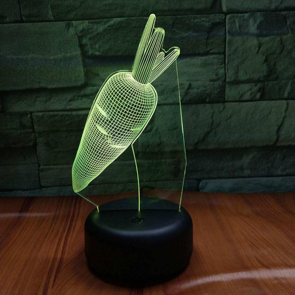 Güzel Tavşan Havuç Akrilik Çift Renkli 3D Gece aydınlatması LED 7 Renk değiştirme USB Masası Lambası Dekorasyon Işık Toptan dropshipping
