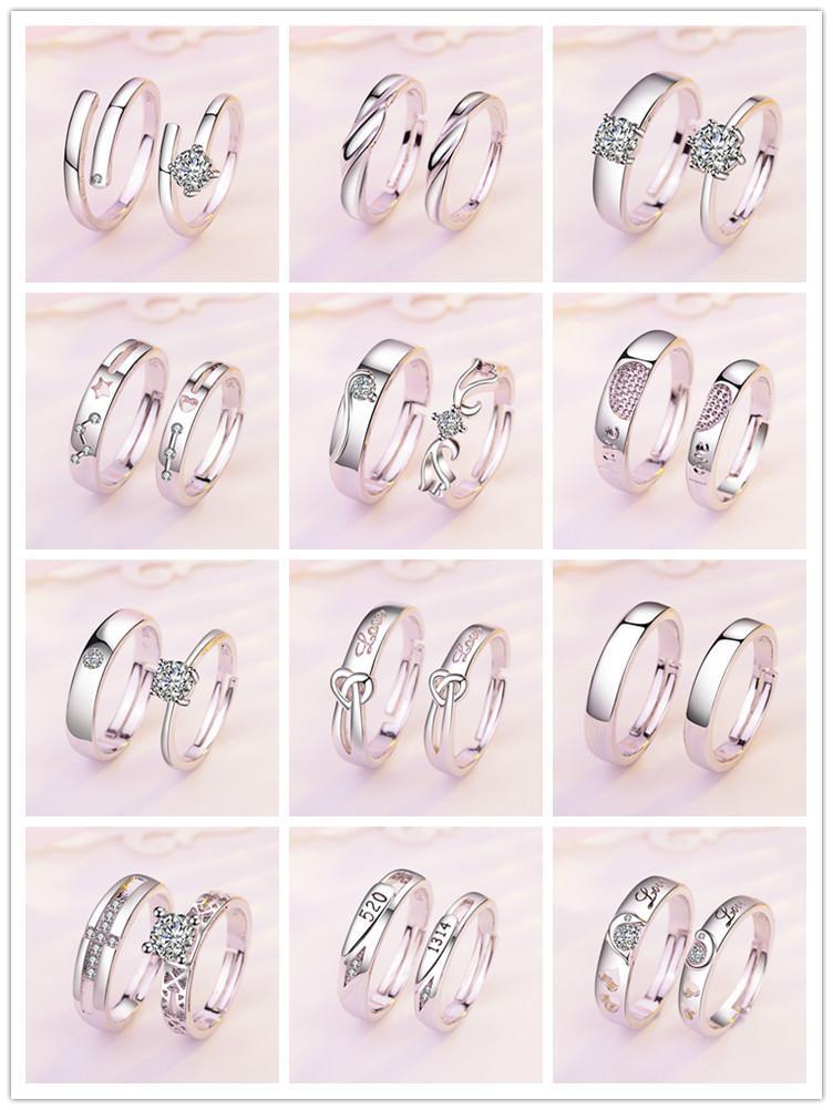 Europa und Amerika Mode Luxus-Liebhaber Ring Paare Ringe für Geliebte 2pcs / pair Männer und Frauen Engagement Ehering bestes Geschenk für Freund