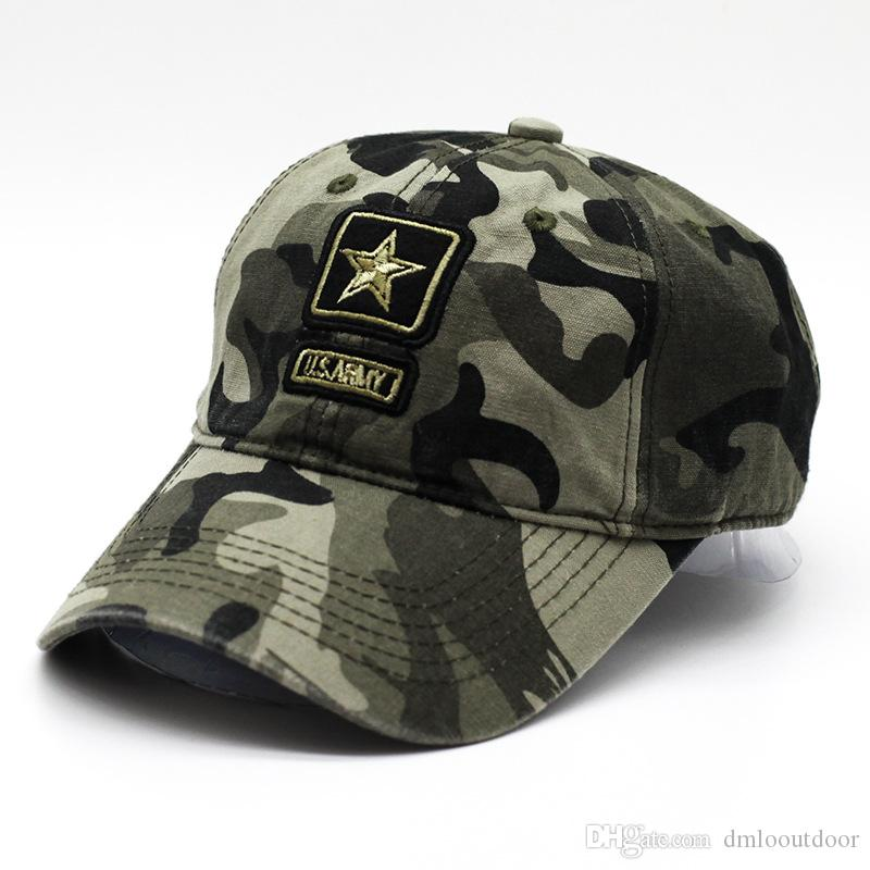 Exército DOS EUA Tactical Cap Camo Bonés de Beisebol Dos Homens Camuflagem Chapéus de Beisebol Esportes Ao Ar Livre Snapbacks Óssea Boné Camionista Pentagrama Pai chapéu