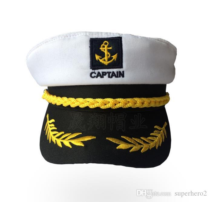 Yacht Captain Hat Sea Skipper White Navy Sailor Cap Costume Boater Hat Party