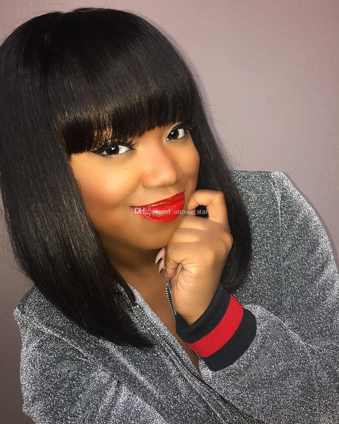 Bob Human Hair Wigs With Bangs Straight Brazilian Full Lace Wig With Baby Hair Virgin Lace Front Wig For Black Women