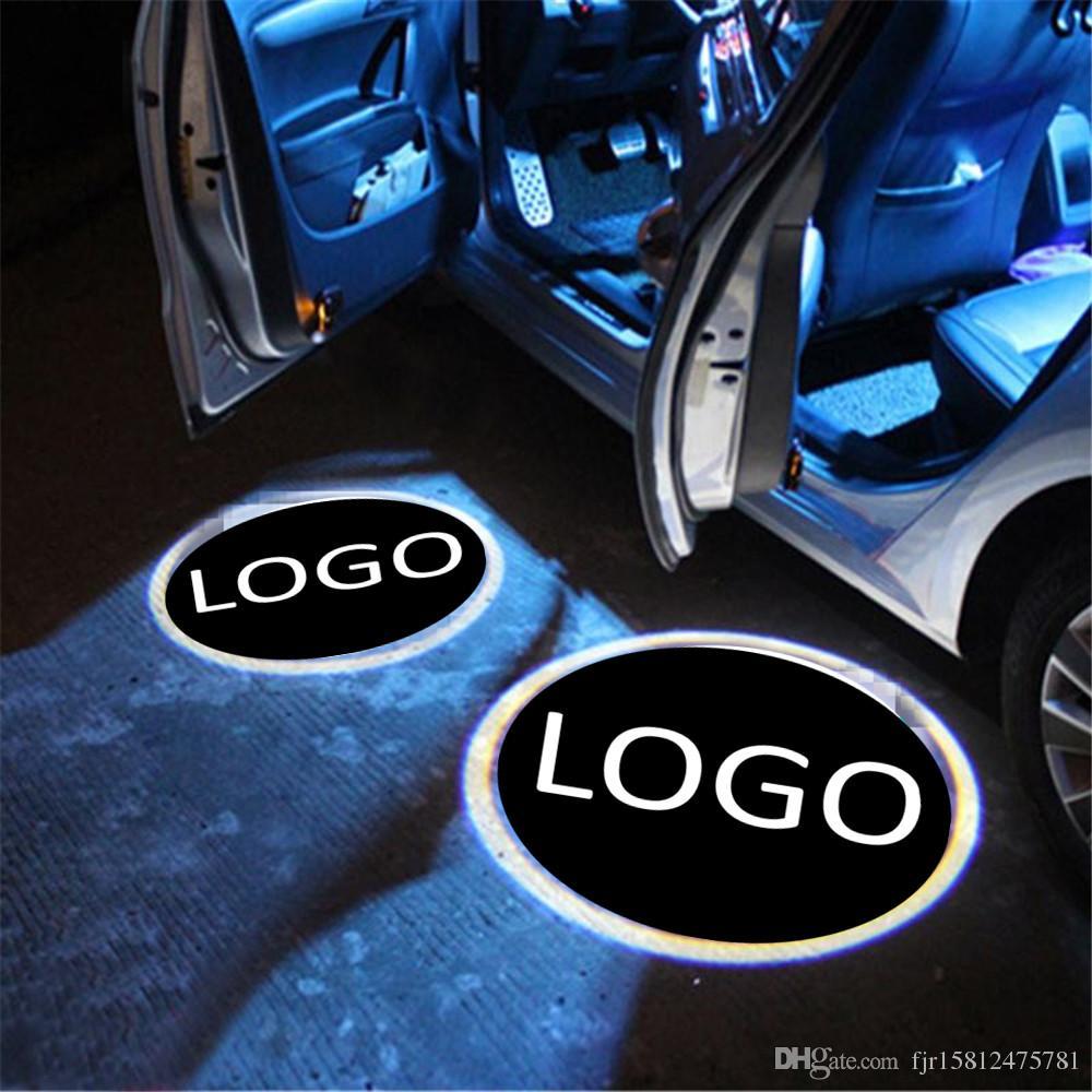 MIVISO 2019 2PCS Porta per auto LED Logo Proiettore Lampada wireless Lampada di benvenuto Ghost Shadow Light aggiornata senza magnete