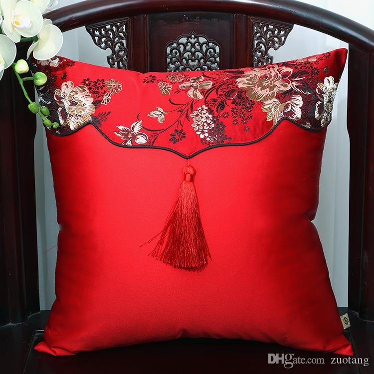 Patchwork Tassel Silk Cushion Cover 30x50cm 50x50cm 60x60cm Throw Pillow Covers Decorative Sofa Chair Empty Cushion Case