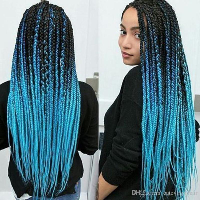 Toptan Ombre gökyüzü mavi örgülü saç kanekalon jumbo büküm örgü saç sentetik tığ örgüler saç uzatma katlanmış 24 inç 100g