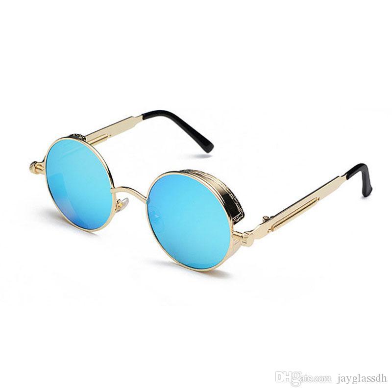 العلامة التجارية الجديدة 2020 مرآة عدسة جولة نظارات نظارات شمسية Steampunk خمر ريترو للرجال والنساء Hisper نظارات