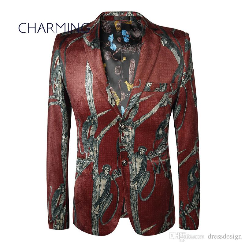 Mens suit coat Best men's suits High-end custom gold velvet fabric print design Gentleman dress Suitable for singers, dancers,