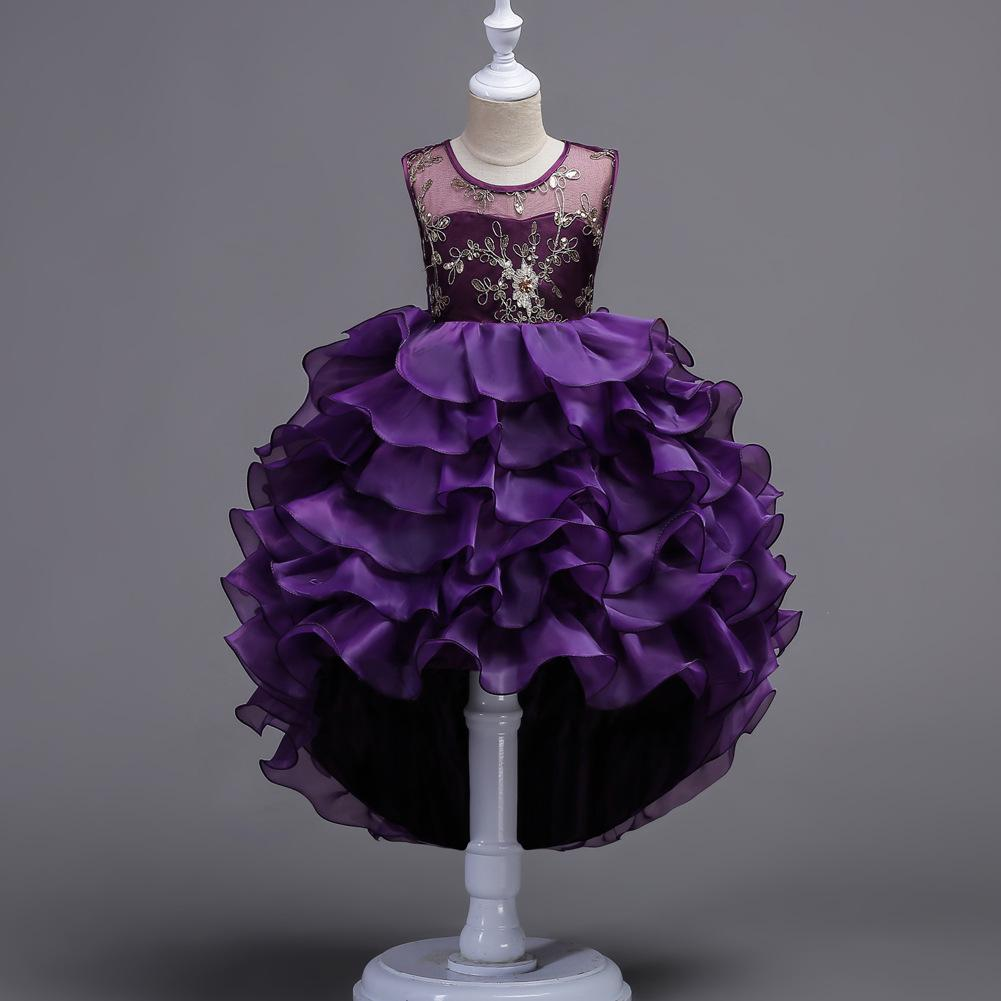 Blue/Purple Kids Embroidery Lace Cake Tutu Flower Dresses Princess Girls ball gowns Birthday party dress First Communion Tulle dress D14