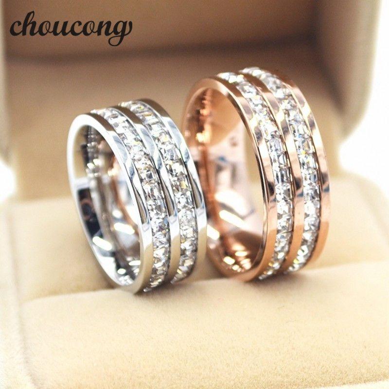 Choucong biżuteria Szerokość 8mm Para Pierścień Pierścień Princess Cut Diamond Ze Stali Nierdzewnej Party Zaręczyny Ślub dla kobiet Mężczyzn