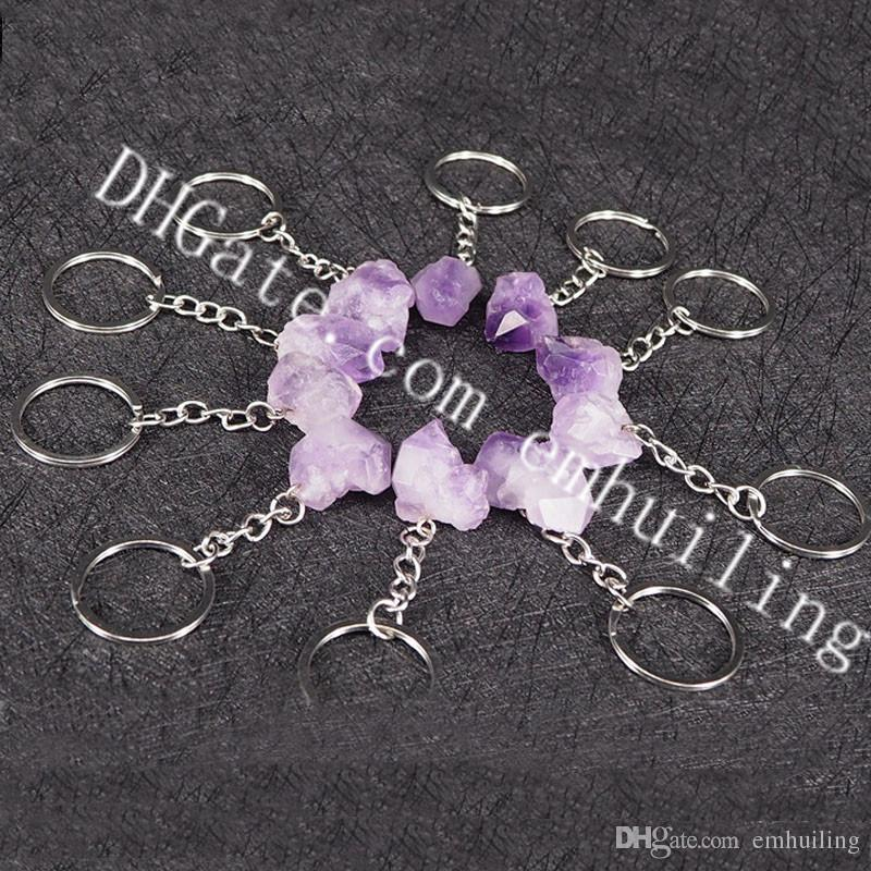 10Pcs 25mm-30mm Irregular Amethyst Stone Keychains Genuine Raw Rough Healing Crystal Point Gemstone Key Ring Natural Purple Quartz Key Chain