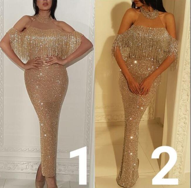 Evening dress Yousef aijasmi Long dress Short sleeve Hight Collar Ankie length Sheath Tassels Beaded Gold Zuhair murad Kim kardashian