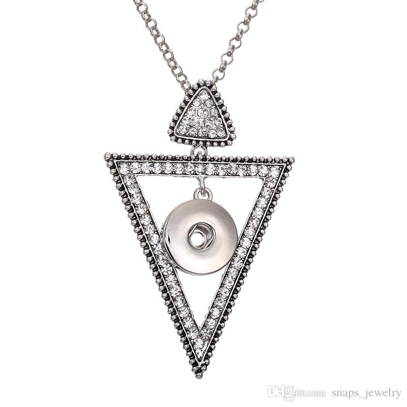 Noosa Snap Jewelry Crystal Triangle Circle Snap Button Pendants Necklace Fit 18MM Snap Buttons DIY Jewelry