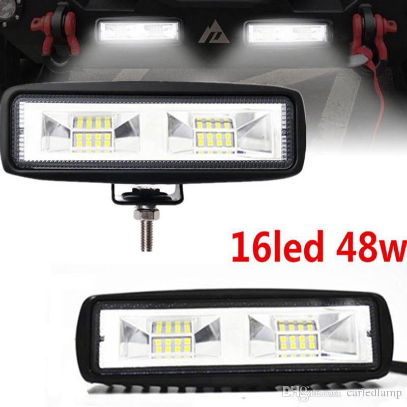 2 sztuk 48W 12V 24 V LED Light Light Lampa Bar Wodoodporna Offroad Łódź Motocykl Motocykl SUV ATV Noc Lighting